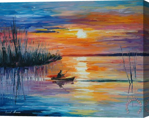 Leonid Afremov Lake Okeechobee Sunset Fishing Stretched Canvas Painting / Canvas Art
