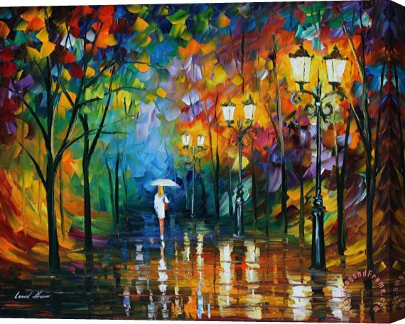 Leonid Afremov Late Stroll Stretched Canvas Print / Canvas Art
