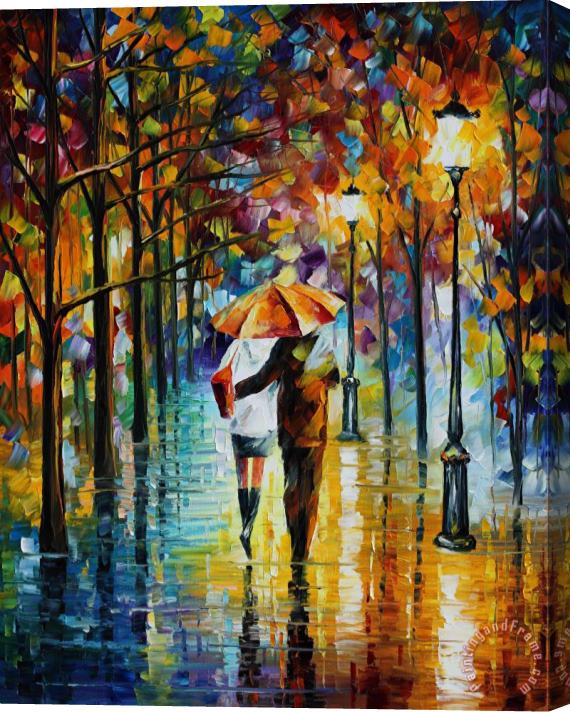 Leonid Afremov Under the red umbrella Stretched Canvas Print / Canvas Art