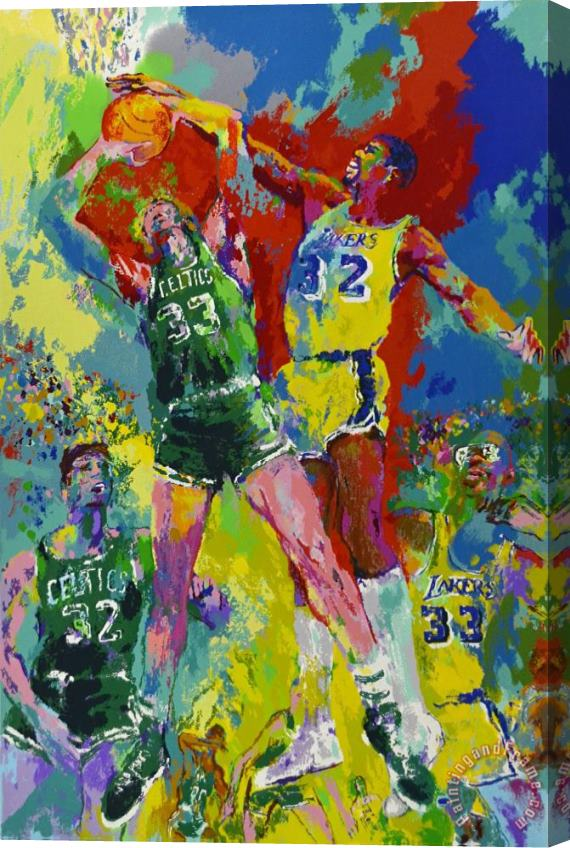 Leroy Neiman Magic Johnson & Larry Bird Lakers Vs Celtics Stretched Canvas Print / Canvas Art