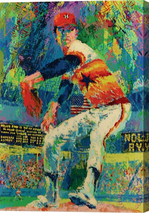 Leroy Neiman Nolan Ryan Stretched Canvas Painting Canvas