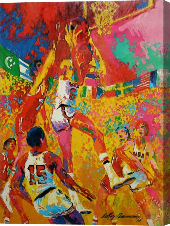 Leroy Neiman Olympic Basketball Stretched Canvas Print / Canvas Art