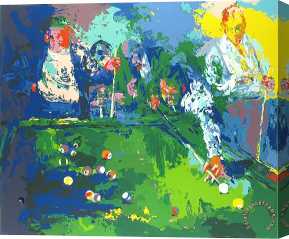 Leroy Neiman Pool Room Stretched Canvas Print / Canvas Art