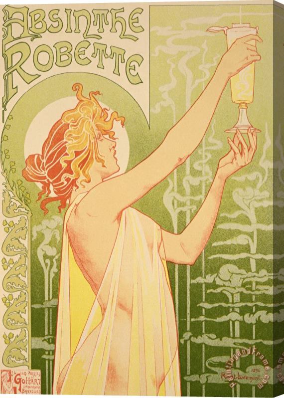 Livemont Reproduction Of A Poster Advertising 'robette Absinthe' Stretched Canvas Print / Canvas Art