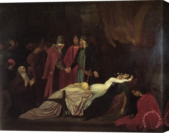 Lord Frederick Leighton The Reconciliation of The Montagues And Capulets Over The Dead Bodies of Romeo And Juliet Stretched Canvas Print / Canvas Art