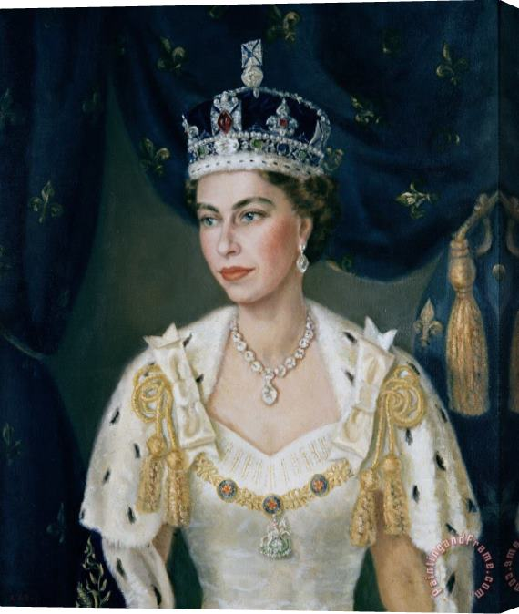 Lydia de Burgh Portrait of Queen Elizabeth II wearing coronation robes and the Imperial State Crown Stretched Canvas Print / Canvas Art