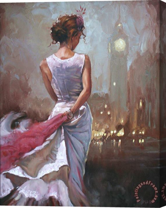 Mark Spain Lady in London Stretched Canvas Print / Canvas Art