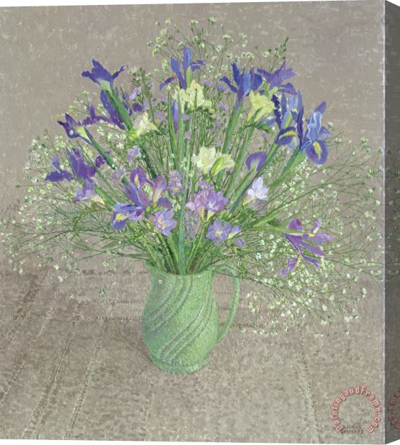 Maurice Sheppard Still Life With Blue And White Freesias Iris And Michaelmas Daisies Stretched Canvas Print / Canvas Art
