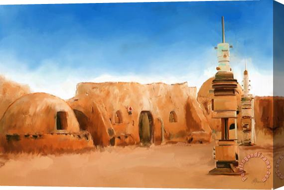 Michael Greenaway Star Wars Film Set Tatooine Tunisia Stretched Canvas Print / Canvas Art