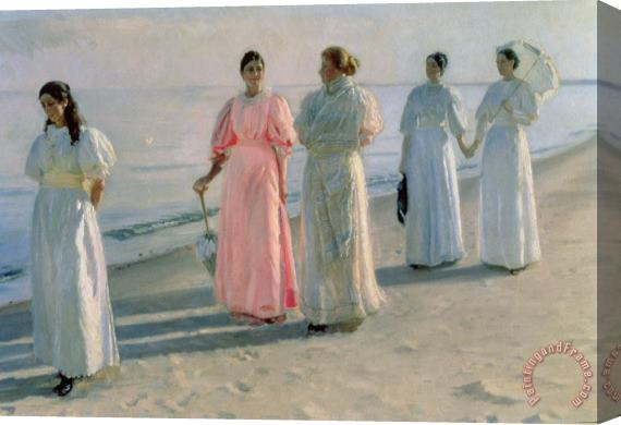 Michael Peter Ancher Promenade on the Beach Stretched Canvas Print / Canvas Art
