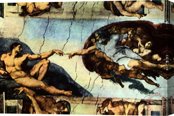 Michelangelo Buonarroti Ceiling Fresco of Creation in The Sistine Chapel Main Scene Poster Stretched Canvas Print / Canvas Art