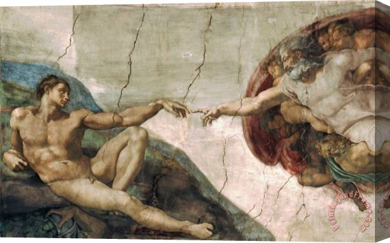Michelangelo Buonarroti Michelangelo Creation of Adam Art Poster Print Stretched Canvas Print / Canvas Art