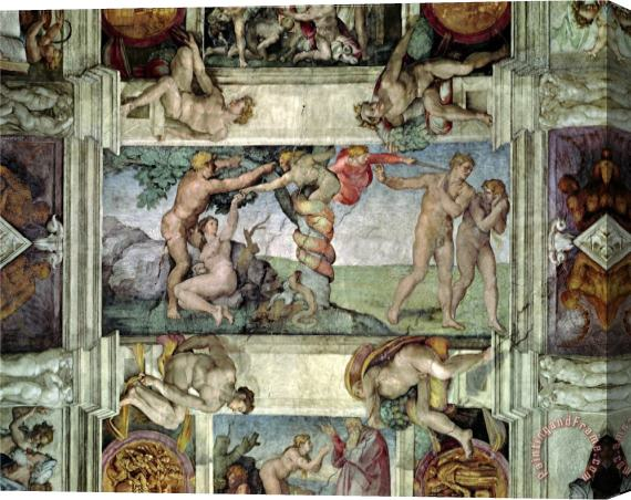 Michelangelo Buonarroti Sistine Chapel Ceiling 1508 12 Expulsion of Adam And Eve From The Garden of Eden Stretched Canvas Print / Canvas Art