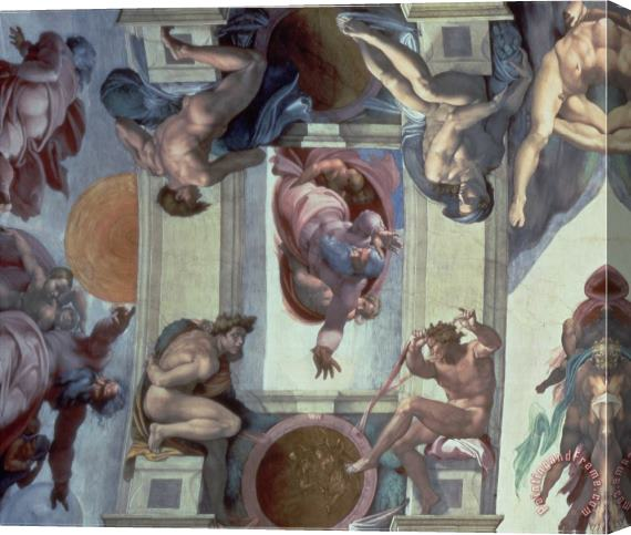 Michelangelo Buonarroti Sistine Chapel Ceiling 1508 12 The Separation of The Waters From The Earth 1511 12 Stretched Canvas Print / Canvas Art