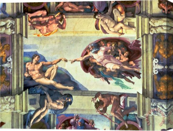 Michelangelo Buonarroti Sistine Chapel Ceiling Creation of Adam 1510 Stretched Canvas Print / Canvas Art