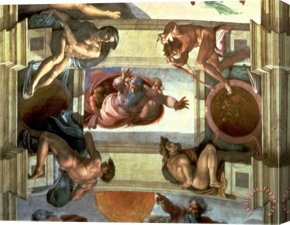 Michelangelo Buonarroti Sistine Chapel Ceiling God Separating The Land From The Sea with Four Ignudi 1510 Stretched Canvas Print / Canvas Art