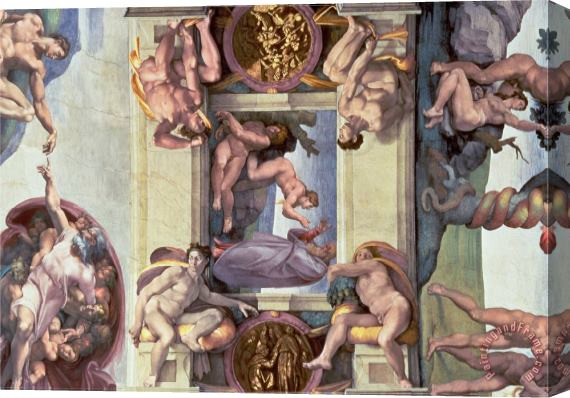 Michelangelo Buonarroti Sistine Chapel Ceiling The Creation of Eve 1510 Stretched Canvas Print / Canvas Art