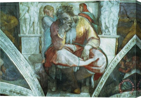 Michelangelo Buonarroti Sistine Chapel Ceiling The Prophet Jeremiah Pre Resoration Stretched Canvas Print / Canvas Art