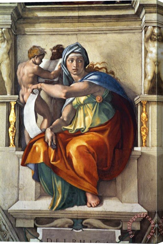 Michelangelo Buonarroti The Sistine Chapel Ceiling Frescos After Restoration The Delphic Sibyl Stretched Canvas Print / Canvas Art