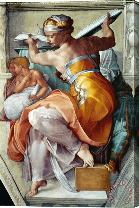 Michelangelo Buonarroti The Sistine Chapel Ceiling Frescos After Restoration The Libyan Sibyl Stretched Canvas Print / Canvas Art