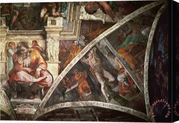 Michelangelo Buonarroti The Sistine Chapel The Prophet Jeremiah The Punishment of Aman Book Esther Stretched Canvas Print / Canvas Art