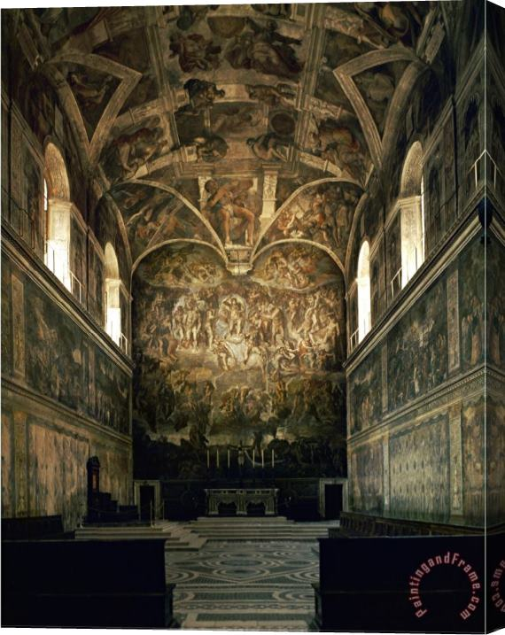 Michelangelo Buonarroti View of The Sistine Chapel Showing The Last Judgement And Part of The Ceiling Before Restoration Stretched Canvas Print / Canvas Art
