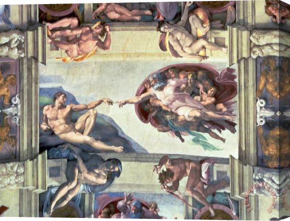 Michelangelo Sistine Chapel Ceiling Creation of Adam Stretched Canvas Print / Canvas Art