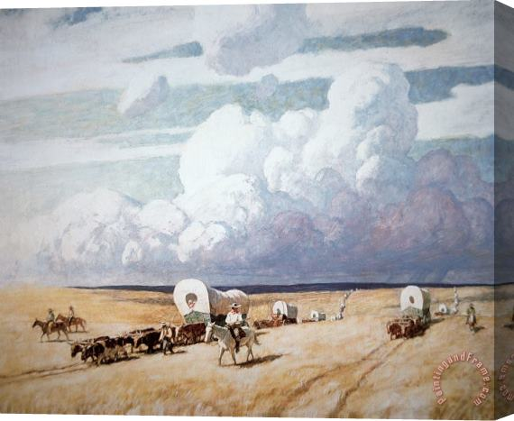 Newell Convers Wyeth Covered Wagons Heading West Stretched Canvas Print / Canvas Art