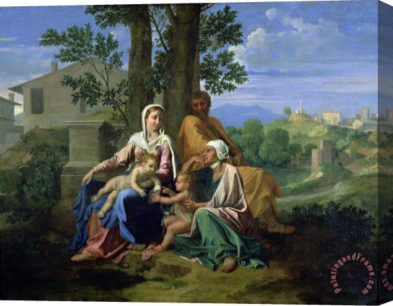 Nicolas Poussin The Holy Family with SS John Elizabeth and the Infant John the Baptist Stretched Canvas Print / Canvas Art