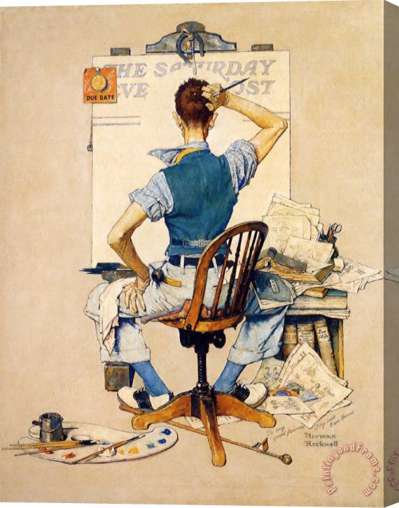 Norman Rockwell Artist Facing Blank Canvas Stretched Print Art