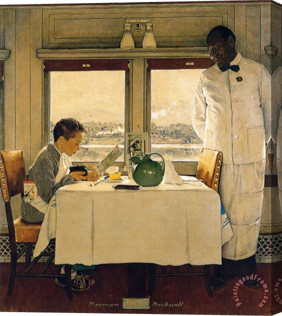 Norman Rockwell Boy in a Dining Car 1947 Stretched Canvas Painting / Canvas Art