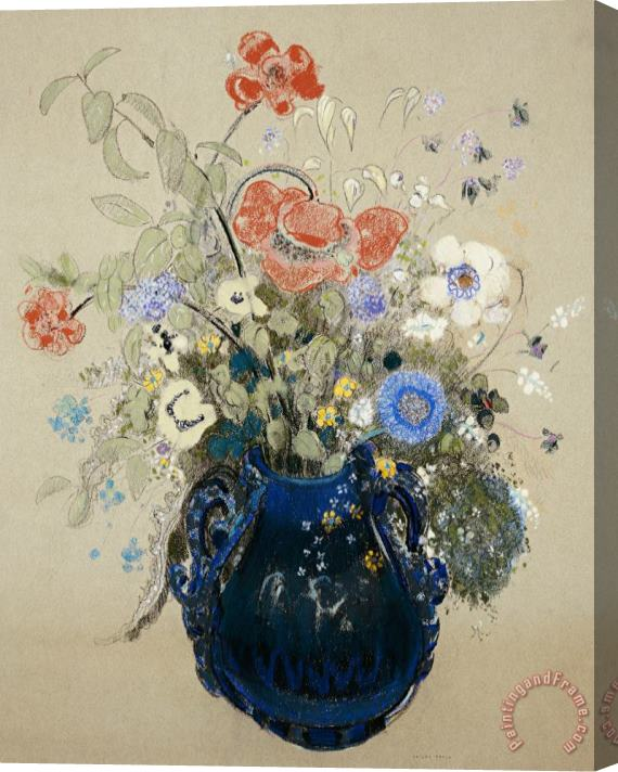 Odilon Redon A Vase Of Blue Flowers Stretched Canvas Print / Canvas Art