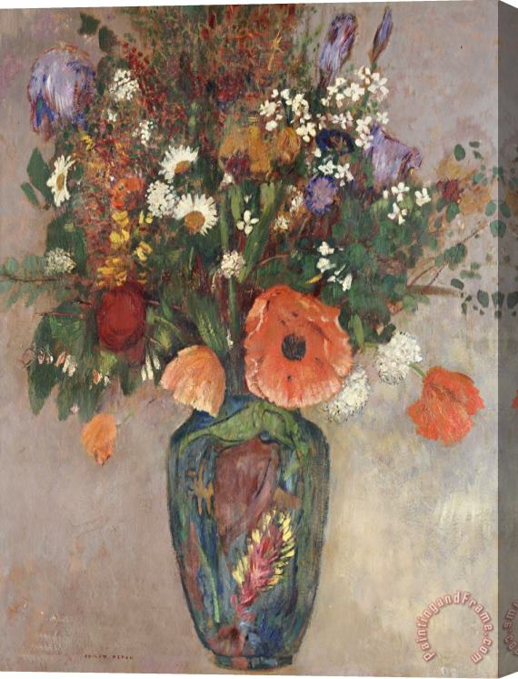 Odilon Redon Bouquet Of Flowers In A Vase Stretched Canvas Painting / Canvas Art