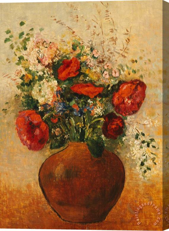 Odilon Redon Vase Of Flowers Stretched Canvas Painting / Canvas Art