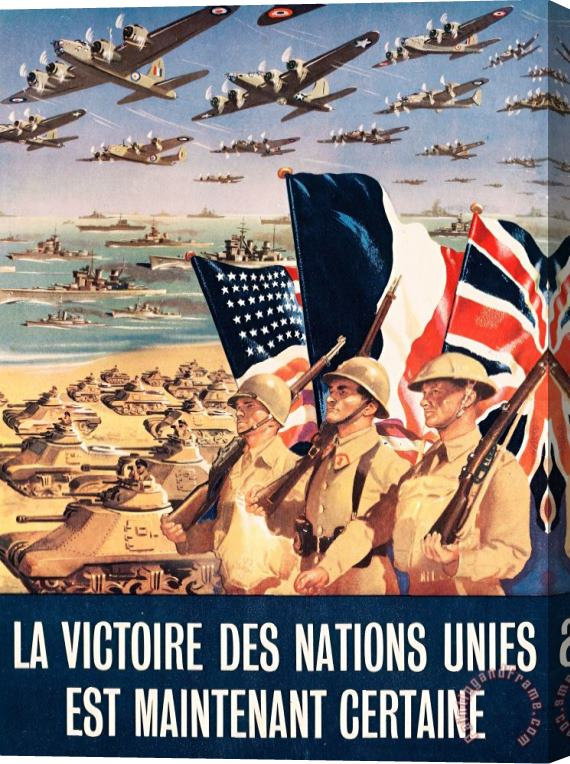 Others French Propaganda Poster Published In Algeria From World War II 1943 Stretched Canvas Print / Canvas Art