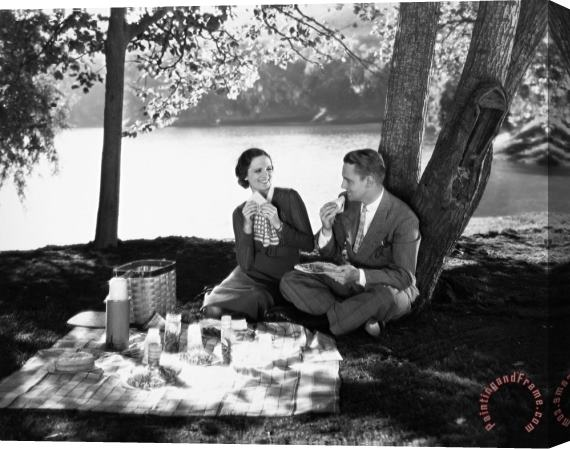 Others Silent Film Still: Picnic Stretched Canvas Print / Canvas Art