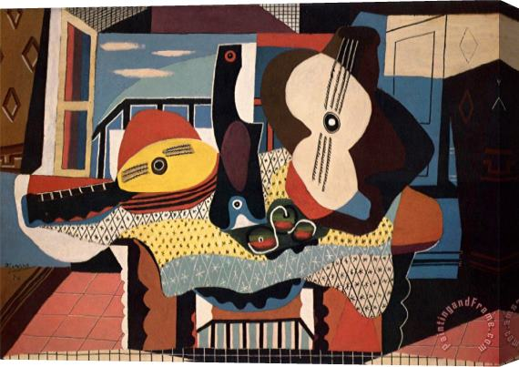 Pablo Picasso Mandolin And Guitar Stretched Canvas Print / Canvas Art