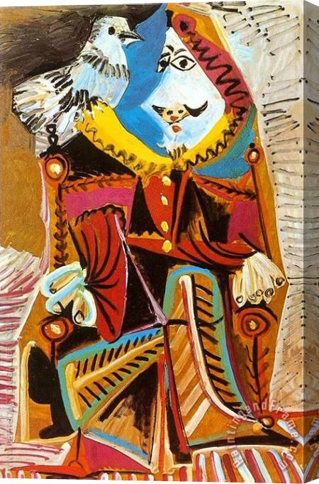 Pablo Picasso Musketeer with Dove 1969 Stretched Canvas Painting / Canvas Art