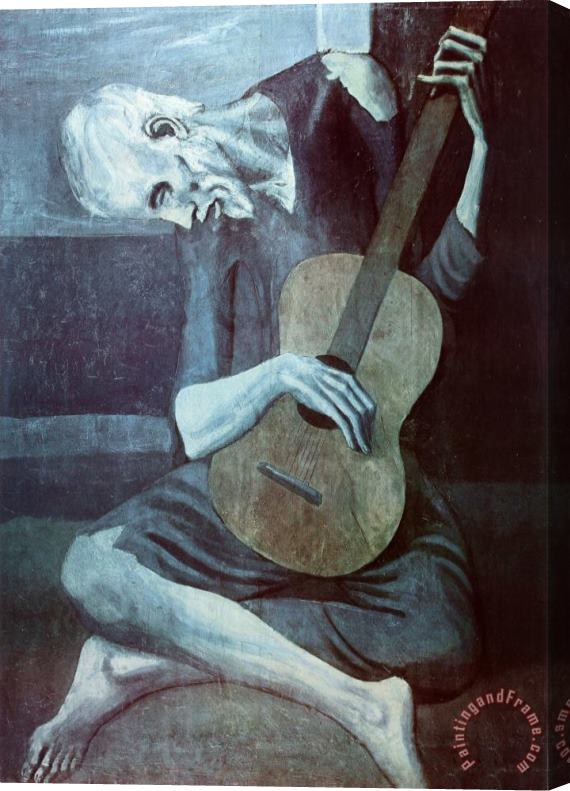 Pablo Picasso Old Guitarist Art Print Poster Stretched Canvas Painting / Canvas Art