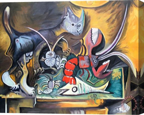 Pablo Picasso Still Life with Cat And Lobster 1962 Stretched Canvas Painting / Canvas Art