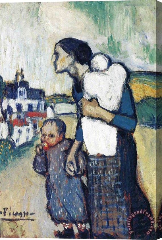 Pablo Picasso The Mother Leading Two Children 1901 Stretched Canvas Print / Canvas Art