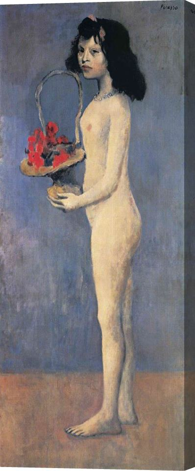 Pablo Picasso Young Naked Girl with Flower Basket 1905 Stretched Canvas Print / Canvas Art