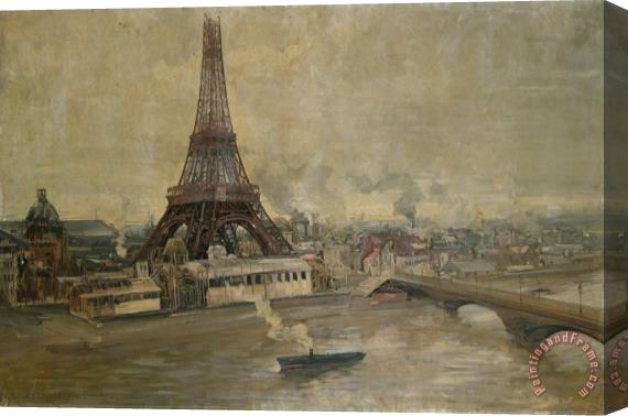 Paul Louis Delance The Construction of the Eiffel Tower Stretched Canvas Print / Canvas Art