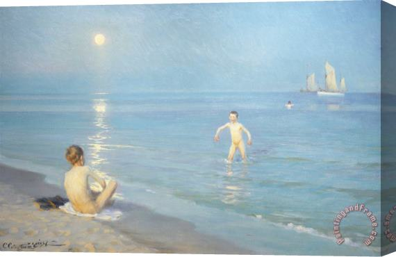 Peder Severin Kroyer Boys On The Seashore In A Summer Night At Skagen 1899 Stretched Canvas Print / Canvas Art