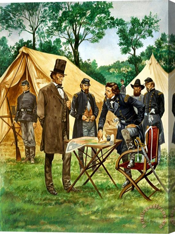 Peter Jackson Abraham Lincoln plans his campaign during the American Civil War Stretched Canvas Print / Canvas Art