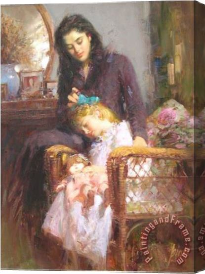 Pino Daeni Bedroom Blue Ribbon Stretched Canvas Painting / Canvas Art