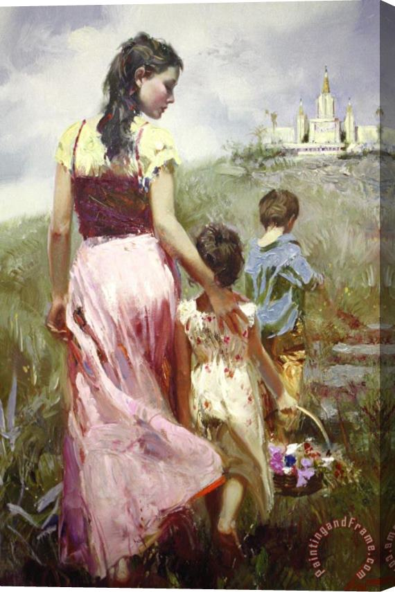 Pino Daeni Seaside Walk Stretched Canvas Print / Canvas Art