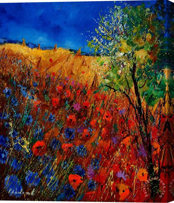Pol Ledent Summer landscape with poppies Stretched Canvas Print / Canvas Art