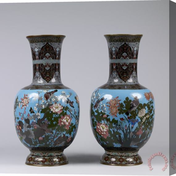 Porcelain vase Japanese Pair of Vases Walters Stretched Canvas Print / Canvas Art