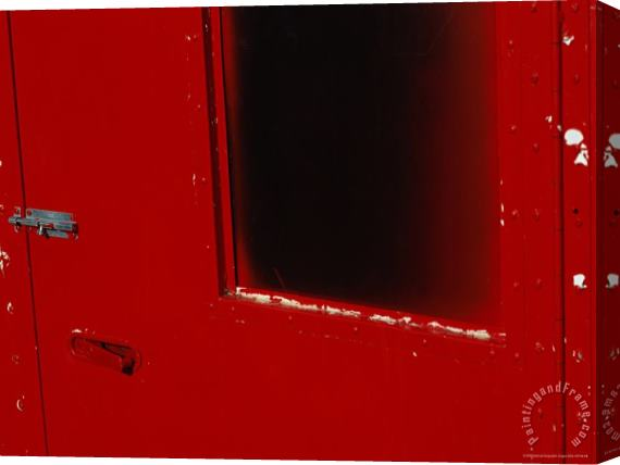 Raymond Gehman Close View of a Bright Red Door Stretched Canvas Print / Canvas Art
